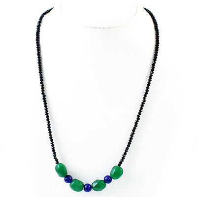 45.00 Cts Earth Mined Faceted Black Spinel /& Sapphire Beads Necklace NK 32E60