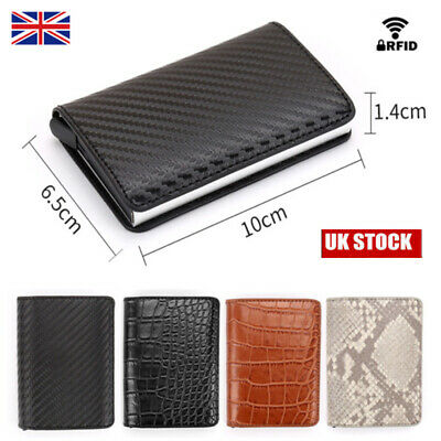New RFID Blocking Wallet Auto Pop up Credit Card Holder Leather Metal Money Clip