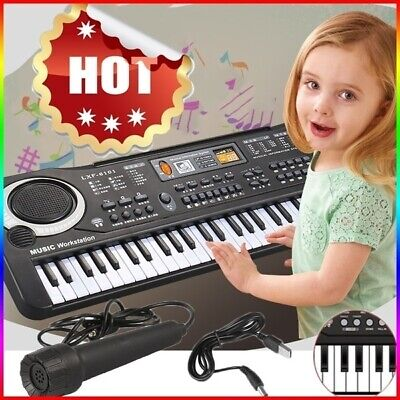 61 Key Electronic Keyboard Electric Music Digital Piano Organ with Mic & Stand