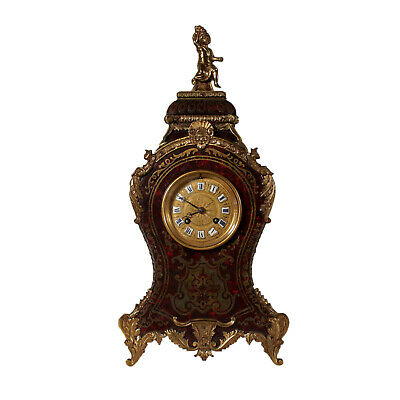 Table Clock Late Baroque Style Bronze Turtle France 19th Century
