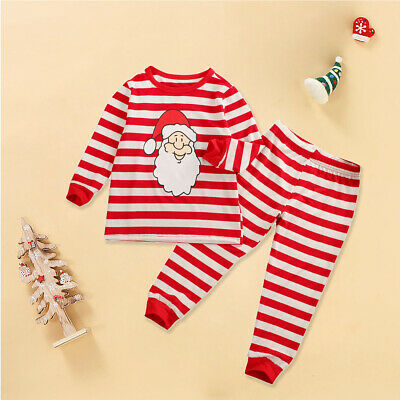 Children Baby Boy Girl Christmas Clothes Santa T-Shirt Tops Pants Outfits 2-8Y