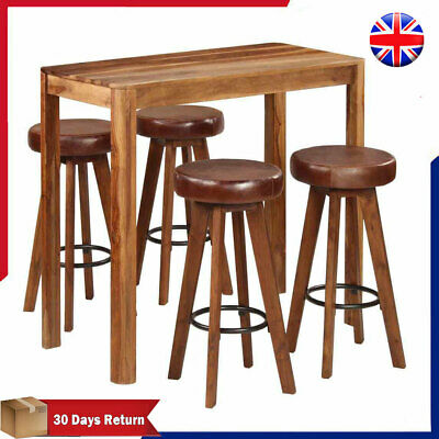Solid Wood Bar Set 5 Piece Table and High Stool Dining Room Furniture industrial