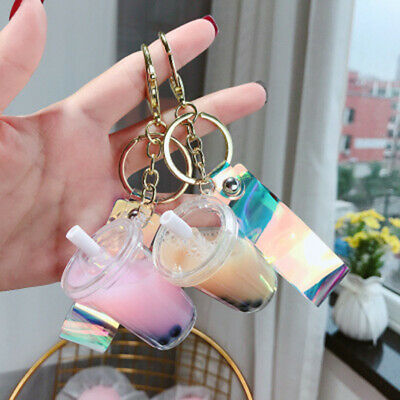 1Pcs Pearl Milk Tea Keychain Metal Key Rings Women Bag Car Key Chain Gifts Cute