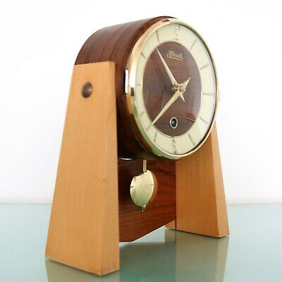 HERMLE Mantel Clock ICONIC! Collectors Item! Wood/Brass Vintage Pendulum Germany