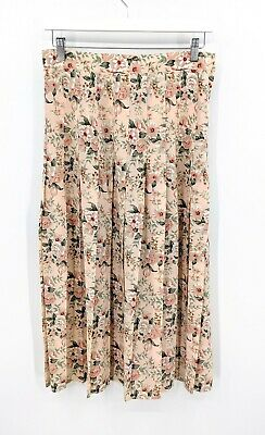 Vintage Katies Peach/Pink Long Floral Pleated Skirt Size 10-12