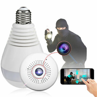 360° Spia Telecamera Nascosta Wireless Micro Camera Spy Lampadina Sicurezza Casa