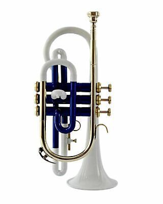 NEW BEST HARD CHEAPEST CORNET Bb PITCH BLUE + WHITE LACQUER;