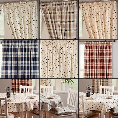 Spotted Or Checked Tartan 100% Cotton Kitchen Curtains With Optional Accessories