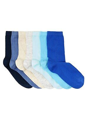 John Lewis & Partners Children's Ribbed Sock 7 Pack / Blue 9-12 Free P&P