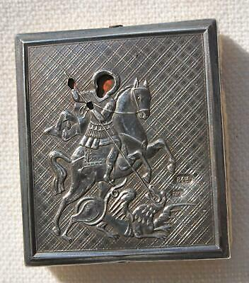 RUSSIAN IMPERIAL ORTHODOX PANAGIA TRAVEL SILVER ICON St. GEORGE JESUS CROSS CUP