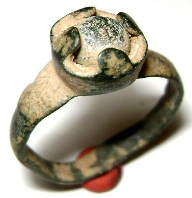 Ancient Rare Roman bronze ring with stone on bezel. Circa 3-4 CAD