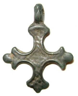 Ancient Rare Vikings Age bronze cast cross pendant. Kievan Rus