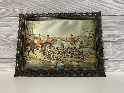 Vintage Satin Picture Depicting Fox And Hound Hunting Scene In Ornate Frame