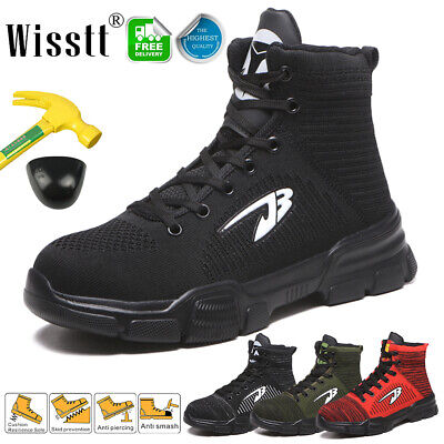 Men's Safety Light Work Shoes Steel Toe High Top Boots Indestructible Sneakers