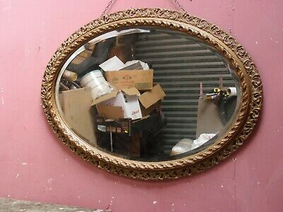LARGE ANTIQUE CARVED & GESSOED OVAL FRAME OVERMANTLE MIRROR c.1920's PROJECT