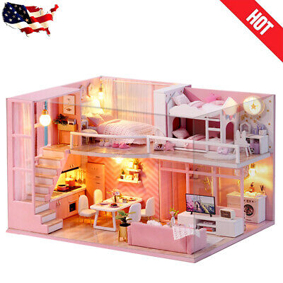 Pink Dollhouse DIY Wooden Miniature Furniture Doll House Kids DIY Works Toy Gift