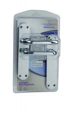 Gridlock Falcon Door Handles Round Rose Long Lever Polished Chrome 1 Pair