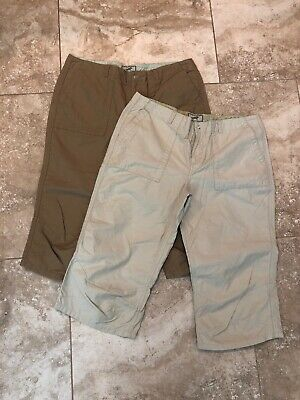Horny Toad Lot of 2 Size 10 Beige Tan Embroidered Capri Pants Walking Hiking