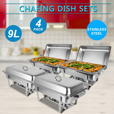 4PCS Chafing Dish 9 L Buffet Grill Catering Server Chafer Food Warming Dishes