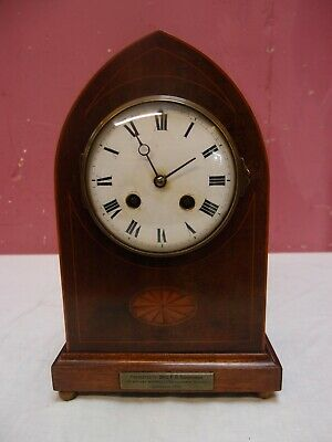 ANTIQUE EDWARDIAN INLAID MAHOGANY CASED MECHANICAL MANTLE CLOCK in WORKING ORDER