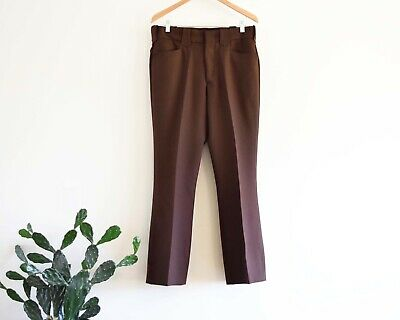 70s Men's 33x30.5 Tony Alamo of Nashville Brown Polyester Western Pants