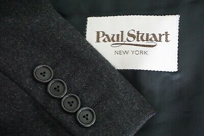 Paul Stuart VTG Charcoal Gray Flannel 2 Piece Suit Jacket Pants Sz 45L