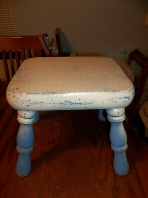 Vintage Small Wood Foot Step Stool Bench Milking Blue/White Country Primative