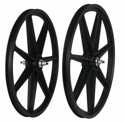 "Skyway Tuff Wheel 24/"" BMX Mag Wheels Black H-Spoke USA Made"