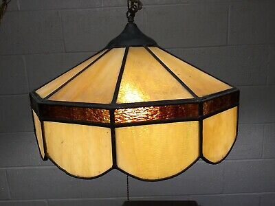 Vintage Tiffany Style Stained Leaded Glass Chandelier Swag Amber Light Plug In