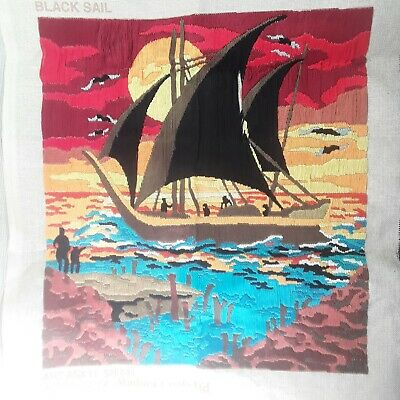 Vintage Finished Crewel Embroidery Polynesian Sailing Canoe Tiki Tropical Boat