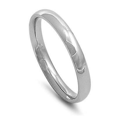 Plain Silver Stainless Steel Ring 3mm / Thumb Ring Size 5 6 7 8 9 10 11 12 13 14