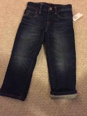 *NWT Gap Kids Boys Size 18 Jersey Lined Winter Denim Blue Jeans