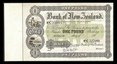 "NEW ZEALAND PS191s SPECIMEN One Pound ""Bank of N.Z"" Note"