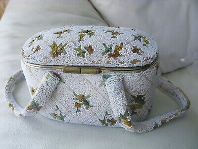 Antique French FRANCE Floral Embroidery Gold Steel & White Iridescent Bead Purse