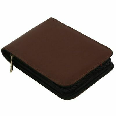 Fountain Pen Roller Brown Leather Binder Case Holder Stationery for 12 Pens X6Z3