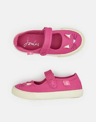 Joules Girls Funday Canvas Strap Pumps in BRIGHT PINK