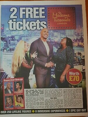 2 X MADAME TUSSAUDS LONDON Tickets (£70) POSTAL Booking Form and 10 Sun Tokens