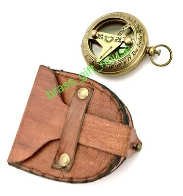 Rose London Antique Pocket Gift Sundial Nautical Brass Compass With Leather Case