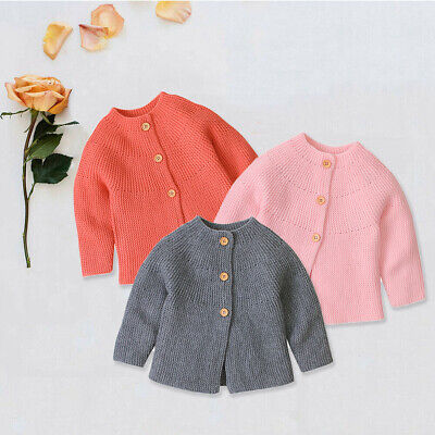 Newborn Loose Knitting Cardigan Sweater Baby Boy Girls Round Collar Coat Outwear