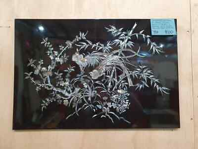 Black Lacquer Mother of Pearl Inlay Wall Panel