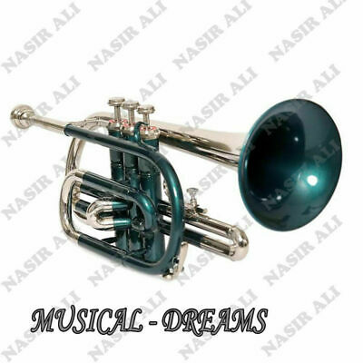 SAI CORNET Bb PITCH GREEN LACQUERED + NICKEL SILVER WITH FREE