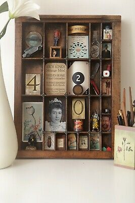 Antique Small Letterpress Printers Drawer Full of Old Curios & Hand Made Items