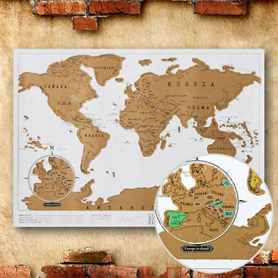 Deluxe World Scratch Off Map Travel Holiday Poster Wall Paper Kids Gift 88X52 cm