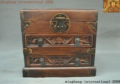Chinese Huanghuali Wood Hand carved wealth animal bat jewelry Storage Box Boxes