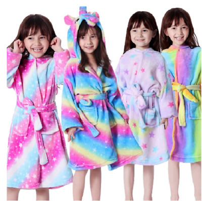 Unicorn Bathrobe Dressing Gown Pyjamas Pjs Soft Kids Pink Purple Colorful Girls