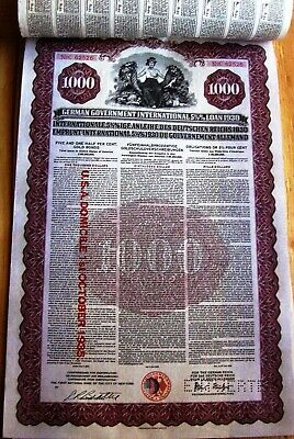 1930 2 numbers in sequence $1000 Gold bond German Government International Loan
