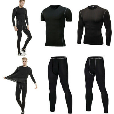 Mens Compression Tight Tops Leggings Athletic Gym Training Activewear Quick-dry
