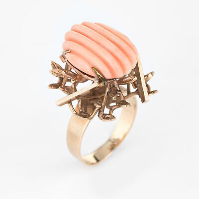 Vintage Fluted Angel Skin Coral Ring 18k Yellow Gold Estate Brutalist Jewelry