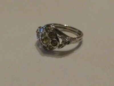 Vintage Sterling Silver Uncas Art Deco Rhinestone Ring, Size 7
