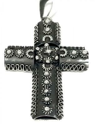 Taxco Mexican 925 Sterling Silver Ornate Deco Scroll Cross Pendant Mexico